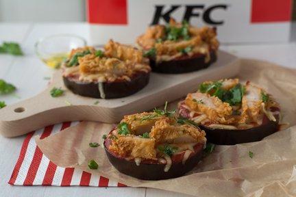 476 – KFC Chicken Eggplant Pizzettes / بيتزات الدجاج والباذنجان
