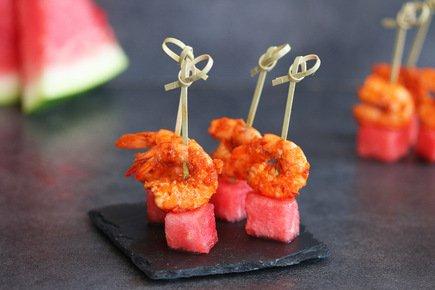 546- Watermelon and Shrimp with Harissa Bites / الجمبري بالهريسة و البطيخ