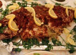 Fish Stuffed with Shrimp and Calamari Moroccan Style سمك محشو بالكلمار والجمبري