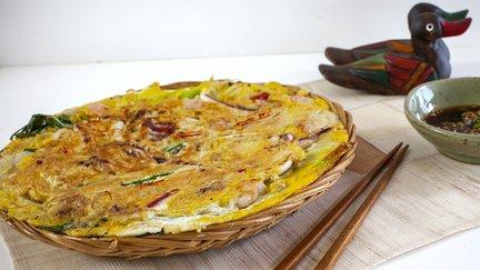376 – Korean Seafood Pancake (Haemul Pajeon) / فطيرة السي فود الكورية