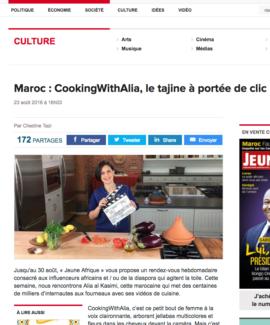 Alia featured in Jeune Afrique Magazine
