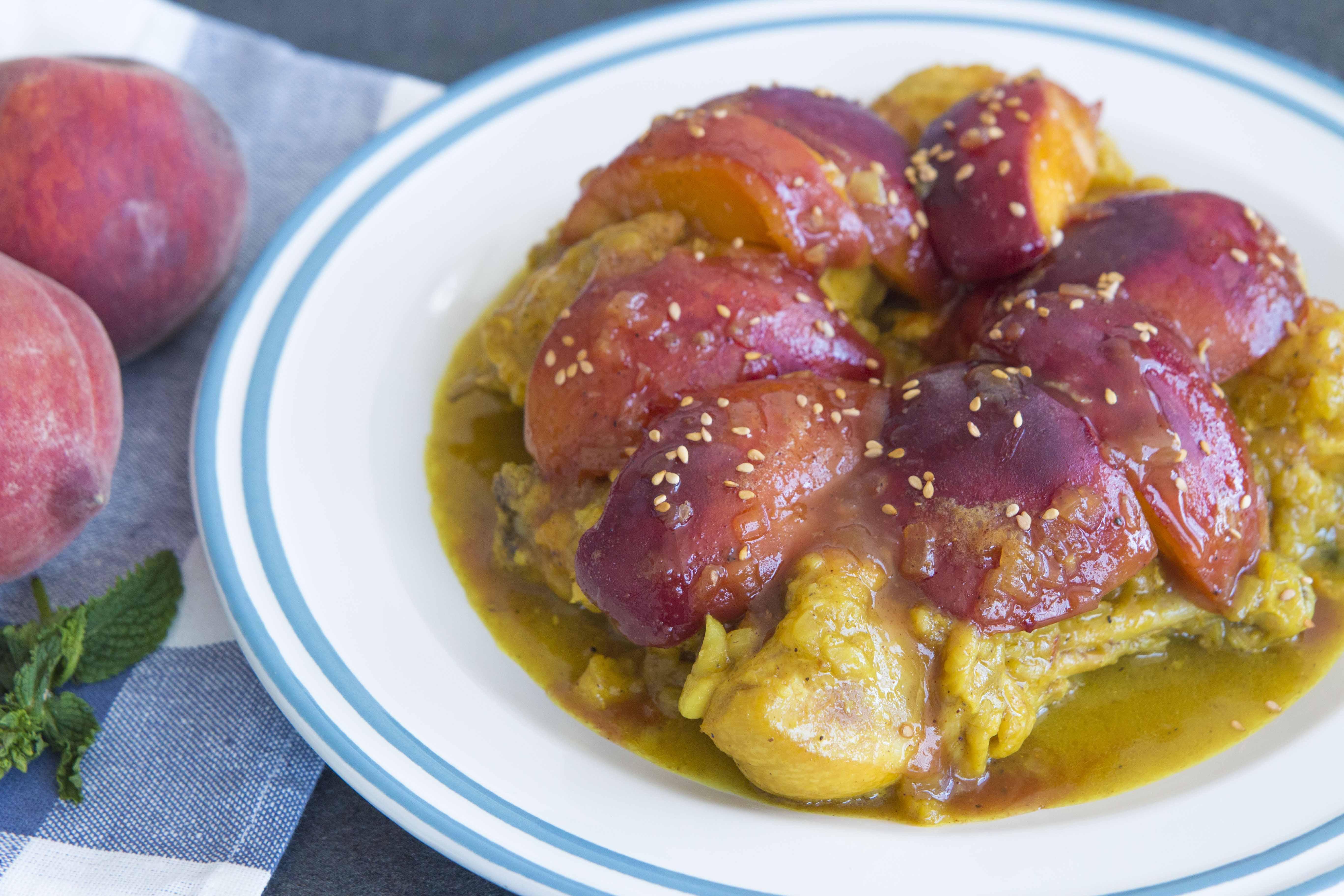 685- Caramelized Peaches Tagine / طاجين بالخوخ المعسل