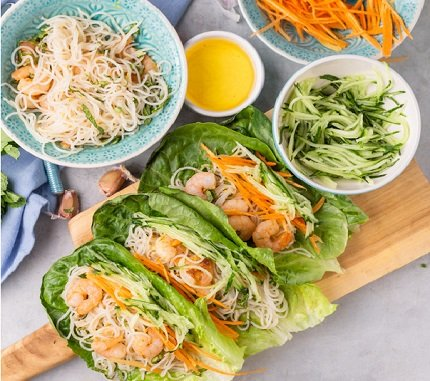 718- Shrimp Lettuce Wraps / لفائف الخس والقيمرون