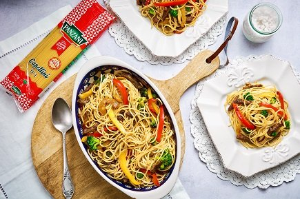 775- Wok Style Capellini With Veggies And Meat / كابيليني ووك بالخضار واللحم