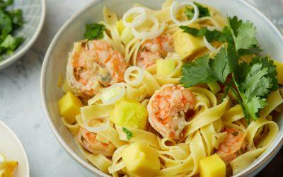 841- Coconut Linguini with Mango & Shrimps / معكرونة لينغويني بجوز الهند، المانجو والروبيان