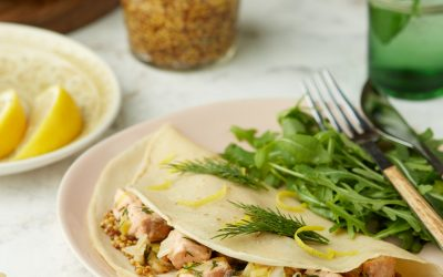 876- Whole Wheat Crêpes with Salmon and Leeks / فطائر الكريب بدقيق القمح الكامل بحشوة السلمون و الكراث