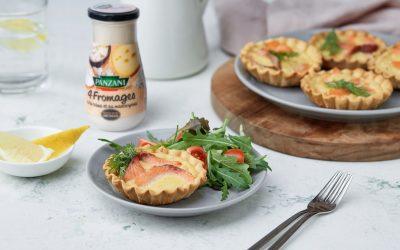 879- Mini Salmon Quiches With Cheesy Sauce / كيش السلمون و صلصة الجبن